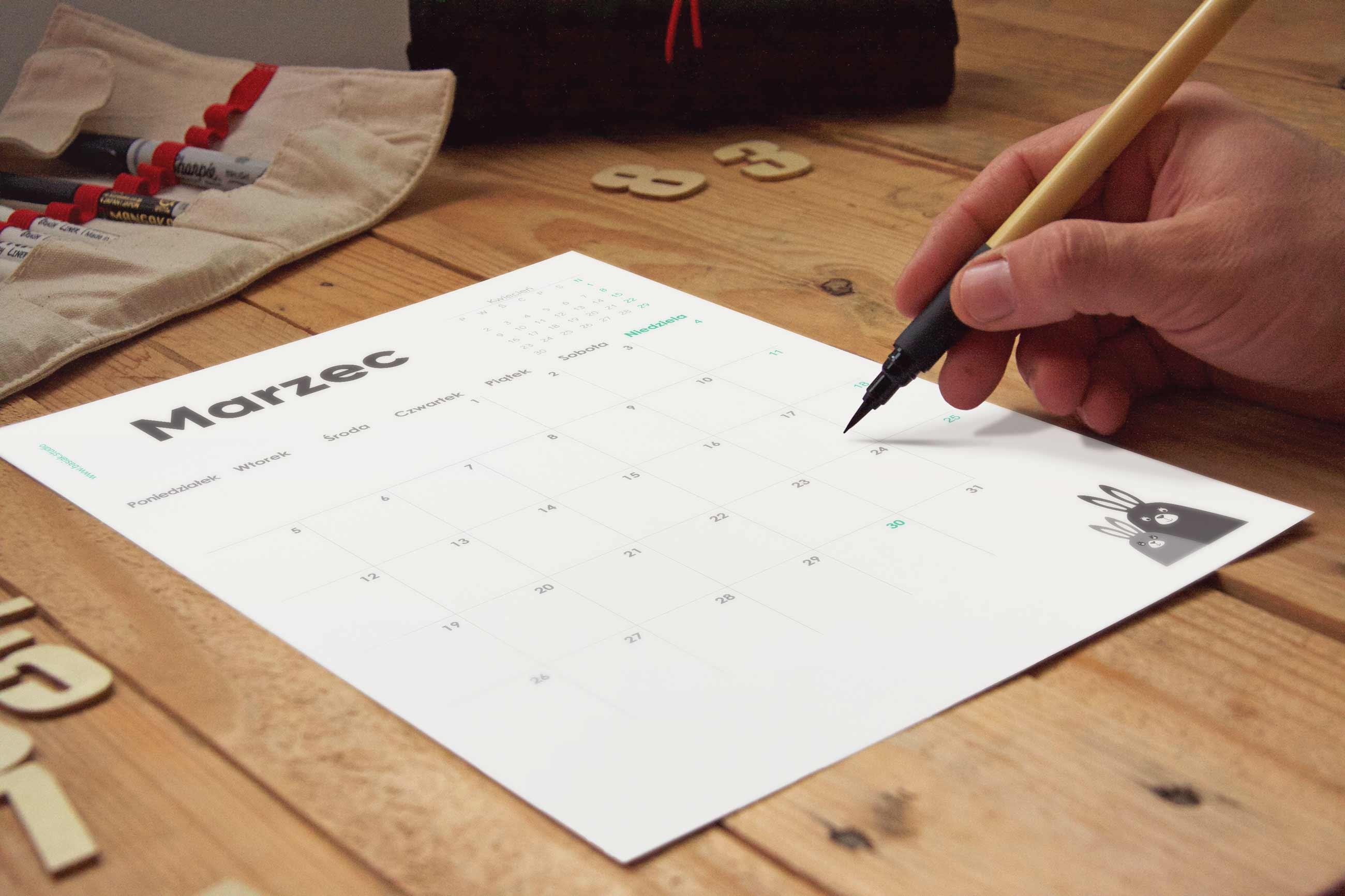 kartka kalendarza do druku