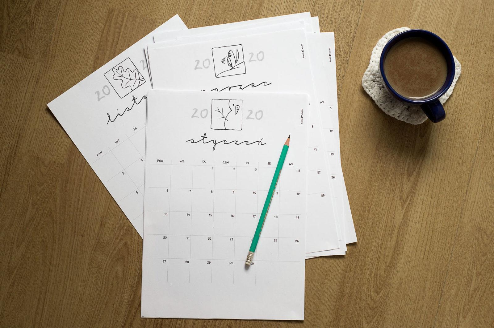 prosty i funkcjonalny kalendarz do druku na drukarce, na rok 2020
